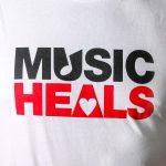 Music Heals Logo - Crew - Black & Red on White