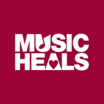 Music Heals Logo - V Neck - White on Burgundy