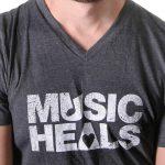 Music Heals Logo - V Neck - White on Grey