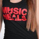 Music Heals Logo - Tank - Red on Black